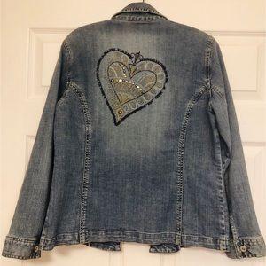 Chico's Platinum embellished heart. denim jacket